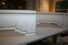 Dupioni Silk Cornices with antique brass nailhead trim. made by MaribelClaribel Interiors, LLC Cornice Ideas, Cornice Box, Cornice Design, Window Cornices, Drapery Designs, Cornice Boards, Window Coverings, Curtain Box, Pelmets