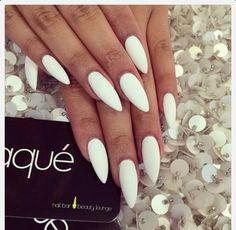 White stilleto nails