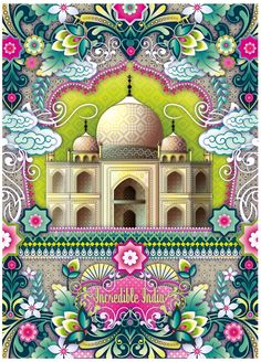 """""""Incredible India"""" - Taj Mahal illustration ~ by Catalina Estrada Taj Mahal India, India India, Indian Illustration, Travel Illustration, Digital Illustration, Indian Patterns, Vintage Travel Posters, Bollywood, Indian Art"""