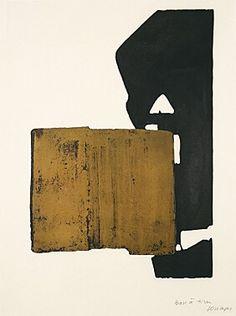 """Pierre Soulages (geb. 1919 Rodez) """"Eau-forte XIX"""" Farbaquatintaradierung 1970 76 x 56,5 cm Pr. 64,5 x 44 cm sign. bez. Auflage 100 Exemplare Encrevé/Miessner Kat. Nr. 20 [9407]"""