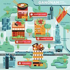 Food Maps for Delta Sky by Crush Creative, via Behance North Asia, Food Map, Han River, Travel Illustration, Affinity Designer, Information Design, Creative Food, Travel Around The World, Game Design