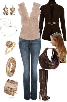 """Brown's and Pink's"" by manda3482 on Polyvore"