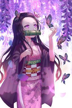 Demon Slayer: Kimetsu no Yaiba, Nezuko Kamado, kimono / 禰豆子 - pixiv Anime Neko, Art Anime, Otaku Anime, Anime Art Girl, Manga Anime, Anime Girls, Manga Girl, Loli Kawaii, Kawaii Anime Girl