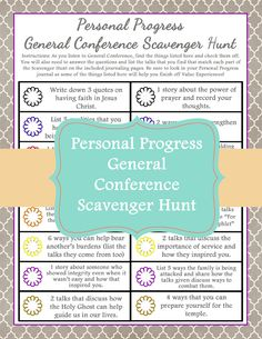 An LDS General Conference Personal Progress Scavenger Hunt that is perfect for engaging your Young Women during General Conference. Young Women Lessons, Young Women Activities, Youth Activities, Indoor Activities, Summer Activities, Church Activities, Personal Progress Activities, Personal Progress Motivators, Progress Book