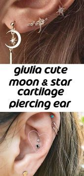 Giulia Cute Moon & Star Cartilage Piercing Ear Cuff Earring Set 3 Pieces in Gold - piercings , What Is a Conch Piercing? Everything You Need to Know - Jewelry accessories Jewelry accessories Ear Piercings Cartilage, Cartilage Hoop, Cuff Earrings, Gold Hoop Earrings, Minimalist Jewelry, Stars And Moon, Custom Jewelry, Earring Set, Silver Jewelry