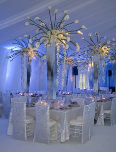 Square Table with White Eclipse Linen from Nuage Designs with Matching Chair Backs for the White Chiavari Chairs