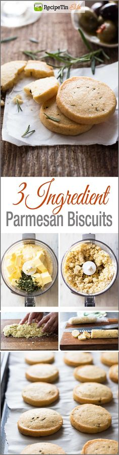 Parmesan Shortbread Biscuit - Butter, flour and parmesan (rosemary optional) is all you need to make these perfectly buttery, crumbly shortbread biscuits.(Baking Bread Coconut Flour)