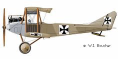 Albatros B.II - 1914 Type: Reconnaissance aircraft Manufacturer: Albatros Flugzeugwerke First Flight: 1914 Entered Service: 1914 Powerplant: 1 × Mercedes D.II 6-cylinder liquid-cooled inline engine, 100 hp (75 kW) Wingspan: 42 ft 0 in (12.80 m) Wing area: 463 ft² (43 m²) Length: 25 ft 0 in (7.63 m) Height: 10 ft 4 in (3.15 m) Loaded weight: 2,361 lb (1,071 kg) Maximum speed: 57 kn, 66 mph (105 km/h) Service ceiling: 9,840 ft (3,000 m) Crew: two, pilot and observer Armament: None