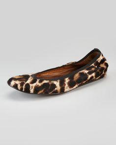 Lanvin Leopard-Print Calf Hair Ballerina Flat - Neiman Marcus
