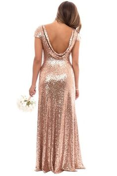 Chloe Bridesmaid Dress in Rose Gold Sequin