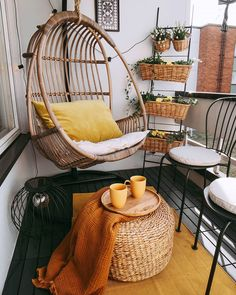 11 Boho Balcony Ideas That Are Staycation Goals Lush green foliage, dreamy texture, intricate patter Small Balcony Design, Tiny Balcony, Small Balcony Decor, Balcony Ideas, Small Balcony Furniture, House Balcony Design, Terrace Decor, Balcony Chairs, Balcony Decoration