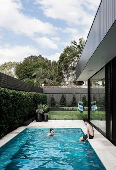 The owners of this Gladesville cottage added a lifestyle-changing extension that unites the character of the old with the clean lines of the new. pool A cottage in Gladesville was given a modern family-friendly extension Small Backyard Pools, Backyard Pool Landscaping, Backyard Pool Designs, Swimming Pools Backyard, Lap Pools, Landscaping Edging, Indoor Pools, Natural Swimming Pools, Farmhouse Landscaping