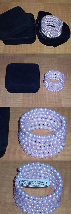 Pearl 164316: 6 Row Pink Round Lustrous Freshwater Pearl Bracelet With Sterling Silver Coil BUY IT NOW ONLY: $54.95