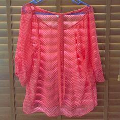 Watermelon polka dot blouse Sheer, 3/4 sleeve, watermelon polka dot blouse Charming Charlie Tops Blouses