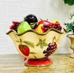 Tuscany-Garden-Hand-Painted-Mixed-Fruit-Pedestal-Fruit-Bowl-Holiday-Serving