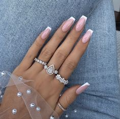 Find over 100 nail art designs, best spring nail designs images, spring nail designs for short nails, 100 Gorgeous Spring Nail Trends And Colors Page 11 French Tip Acrylic Nails, French Manicure Nails, Best Acrylic Nails, Acrylic Nail Designs, French Nails, Nails French Design, Pink Nails, My Nails, Glitter Nails