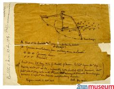"""Aerial reconnaissance sketch.    From the early days of the war the Royal Flying Corps was very much """"the eyes of the army"""". Reconnaissance was often gathered by simply sketching enemy positions. The information gained by the RFC at Mons played a crucial role in controlling operations on the ground."""