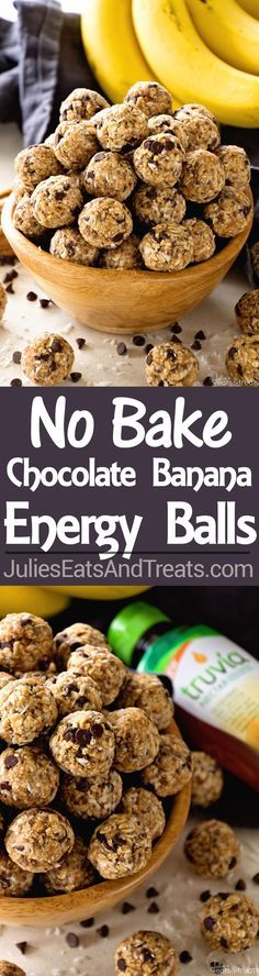 No Bake Chocolate Banana Energy Balls Recipe ~ Delicious Recipe for Energy Bites Loaded with Chocolate Chips, Banana, Coconut, Oats, Flaxseed, Chia Seeds and Spiced with Cinnamon! @TruviaBrand: http://www.julieseatsandtreats.com/no-bake-chocolate-banana-energy-balls-recipe/