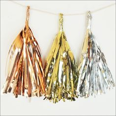 Celebrate weddings, birthdays or baby showers with sparkly metallic mini tassels. Choose your color and create mini banners, add to favor packaging, tie on balloons or hang from party straws - just to