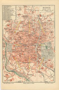 Antique map of Madrid Spain. Vintage print of Madrid. Vintage Maps, Antique Maps, Antique Prints, Foto Madrid, Show Me The Way, City Maps, Art Graphique, Map Art, Planer