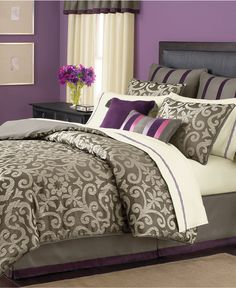 I have a lighter version of purple walls in our bedroom...Love this bedding set maybe in more of a light brown