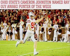 9-19-2016 CAMERON JOHNSTON NAMED RAY GUY AWARD NATIONAL PUNTER OF THE WEEK.