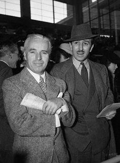 Walt Disney with his hero, Charlie Chaplin