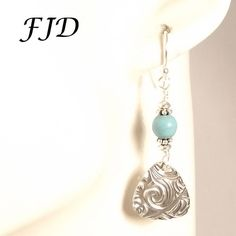 Fine Silver, Turquoise Magnesite and Sterling Silver Earrings | Felicity Jewelry Designs, Handmade Jewelry, Fashion Jewelry