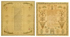 Needlework sampler, early 19th century, of a religious verse within a floral border by Mary Clarke, 57 x 54cm, in a gilt frame; another needlework sampler of a religious verse within foliage, by Sarah Rutter aged 14 1843, 55 x 51cm, in a rosewood frame. (2). Estimate: £100 - £200