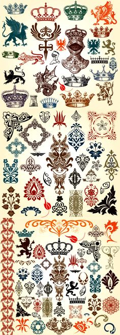 Classical European Style Pattern Totem Vector Set