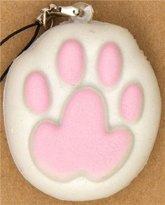 kawaii squishy charm with pink cat's paw 1