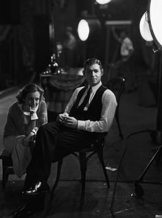Clark Gable and Joan Crawford on the set of Possessed, 1931.