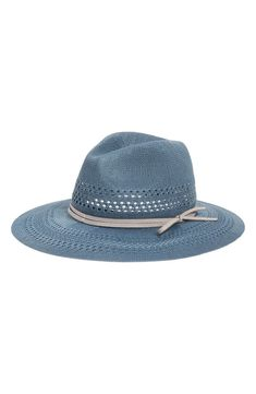 Slim straps encircle the crown of a packable Panama hat in a beautifully textured knit.