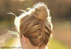 Upside Down French Braid Bun Hairstyle Tutorial