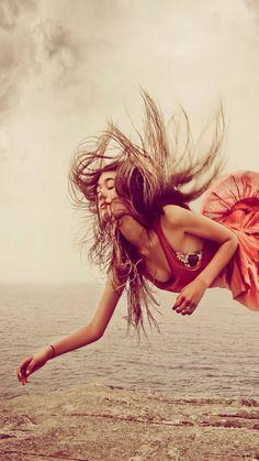 ↑↑TAP AND GET THE FREE APP! Beautiful Girl Levitation Yellow Cute Hair Ocean Impressive Sea Flying Red Dress HD iPhone 6 plus Wallpaper