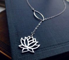Lotus necklace, lariat necklace, Yoga Jewelry, Sterling Silver, y drop, Bridesmaid Gift, waterlily necklace, lotus lariat, lotus jewelry on Etsy, $35.00