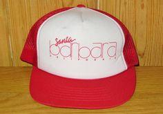 SANTA BARBARA CALIFORNIA Original Vintage 80s Red Mesh Snapback Hat @ HatsForward