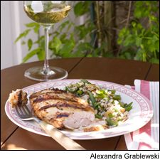 Grilled yogurt-marinated chicken and Chardonnay: A tangy marinade is the key to a light meal for the grill. This recipe can be scaled up easily for an impromptu backyard gathering.