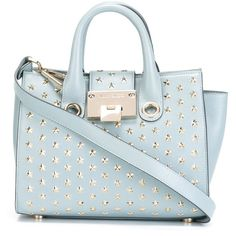 Jimmy Choo Small Riley Tote featuring polyvore, fashion, bags, handbags, tote bags, blue, jimmy choo tote bag, embellished handbags, blue tote, jimmy choo purses and jimmy choo tote