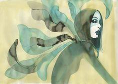 #MargotMace #illustration #woman #woodblockillustration #fashionillustration #trafficnyc #green #watercolor