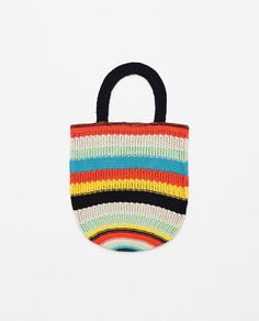 Image 1 of MULTICOLOURED STRIPED KNIT BAG from Zara