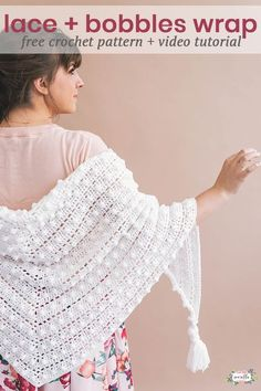 Crochet Le Nuage Wrap is made of lace and bobble stitches and you may not believe how cozy this shawl is! It's an easy free pattern on my blog and will be the perfect thing to wrap up in all year long!
