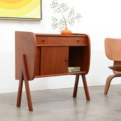 Danish Modern Teak Entry Chest Table Mini Credenza Vintage Mid Century | eBay