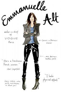 Emmanuelle Alt –(editor-in-chief of Vogue Paris) Top Fashion, Fashion Face, French Fashion, Fashion Outfits, Fashion Tips, Lifestyle Fashion, Paris Fashion, Fashion Beauty, Anna Wintour