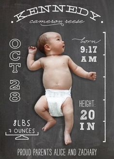 Chalkboard Stats Birth Announcement Postcards by l. Newborn Pictures, Baby Pictures, Baby Photos, Faire Part Simple, Scrapbook Bebe, Foto Newborn, Foto Baby, Baby Birth, Everything Baby