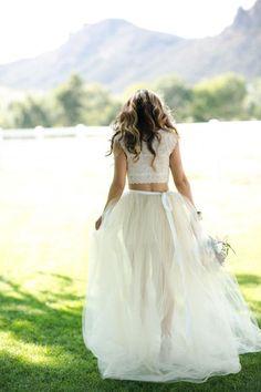 rendas e tule vestido de casamento separado