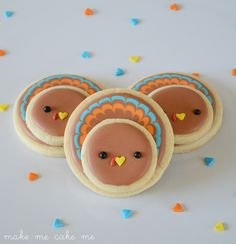 Quirky Kawaii Thanksgiving Turkey Cookies Tutorial from Circle Cutters - Make Me Cake Me
