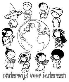 children around the world coloring page Preschool Around the World