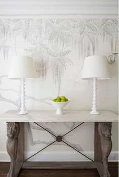 Hand-painted mural. Dining Room with subtle hand-painted mural. #Handpaintedmural #DiningRoom Martha O'Hara Interiors.