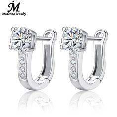 """Moda 925 plata esterlina stud pendientes de la joyería de lujo Rhinestone embutió """" U """" diseño de la hebilla del oído pendientes de mujer joyería"""